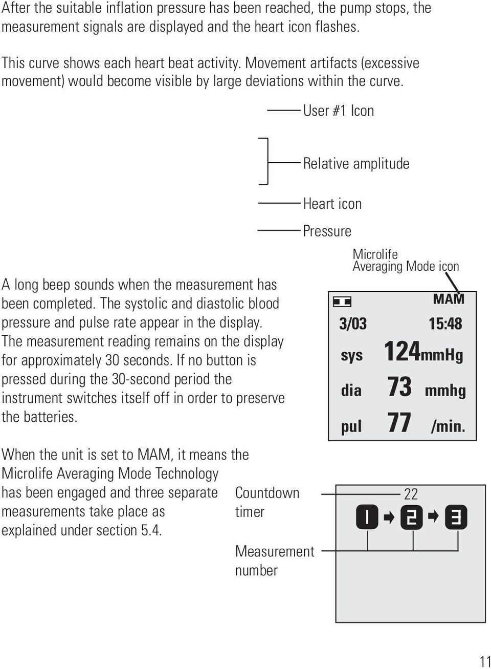 The systolic and diastolic blood pressure and pulse rate appear in the display. The measurement reading remains on the display for approximately 30 seconds.