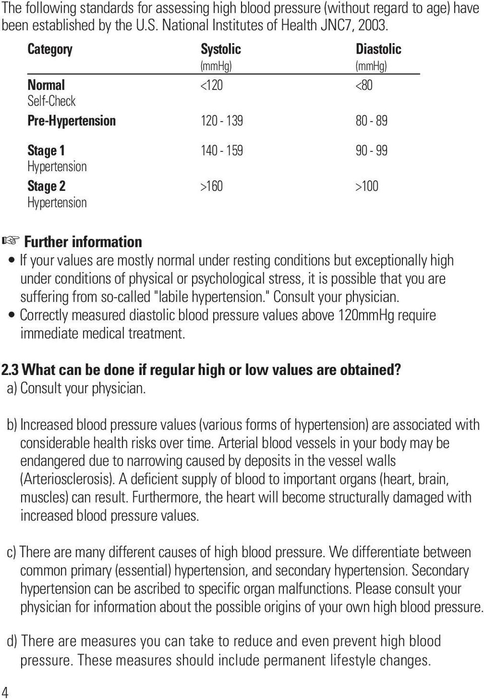 "so-called ""labile hypertension."" Consult your physician. Correctly measured diastolic blood pressure values above 120mmHg require immediate medical treatment. 2."
