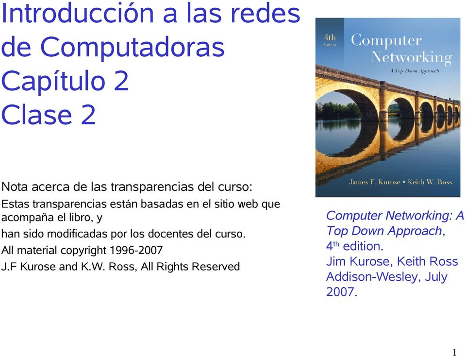 por los docentes del curso. All material copyright 1996-2007 J.F Kurose and K.W.