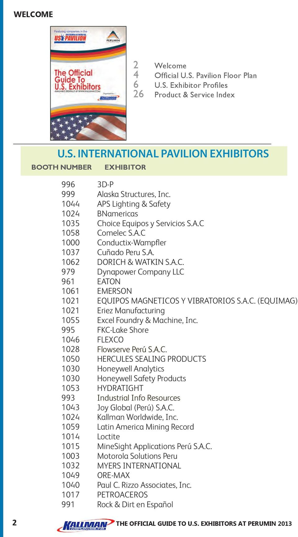 Exhibitor Profiles 26 Product & Se