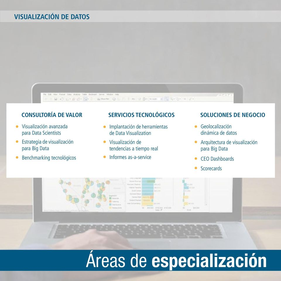 Data Visualization Visualización de tendencias a tiempo real Informes as-a-service SOLUCIONES DE NEGOCIO