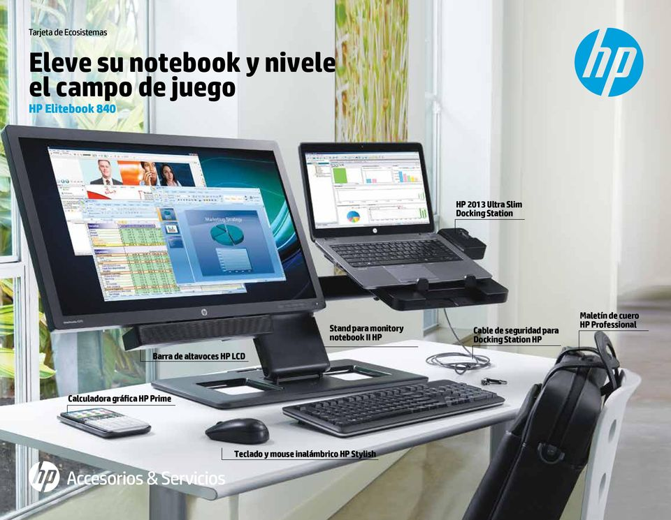 monitor y notebook II HP Cable de seguridad para Docking Station HP Maletín de