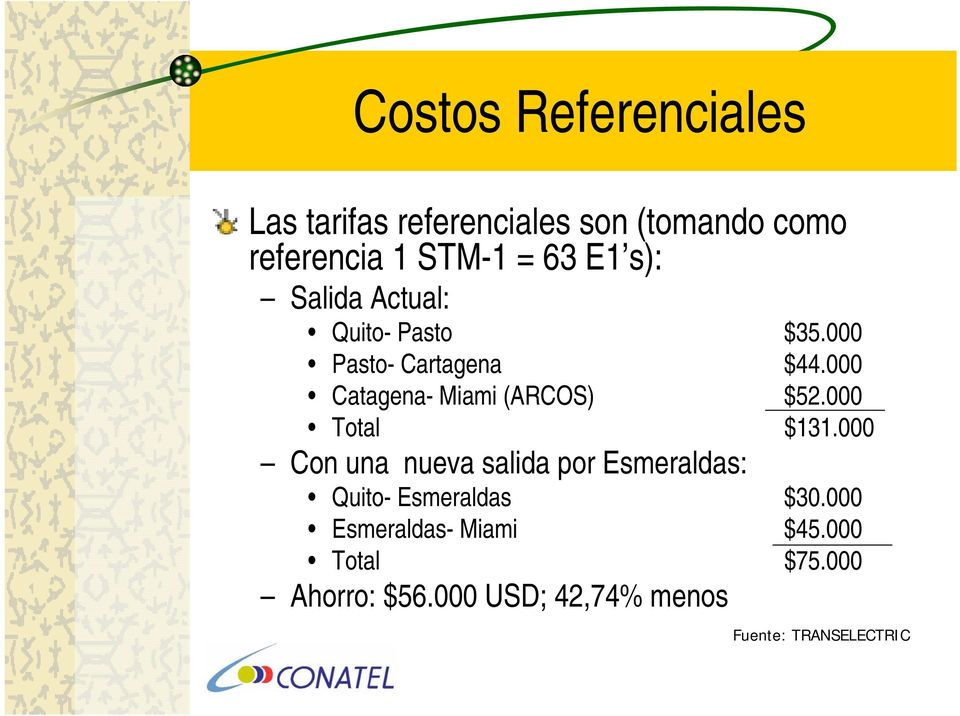 000 Catagena- Miami (ARCOS) $52.000 Total $131.