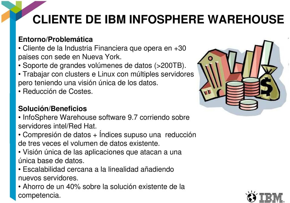 Solución/Beneficios InfoSphere Warehouse software 9.7 corriendo sobre servidores intel/red Hat.