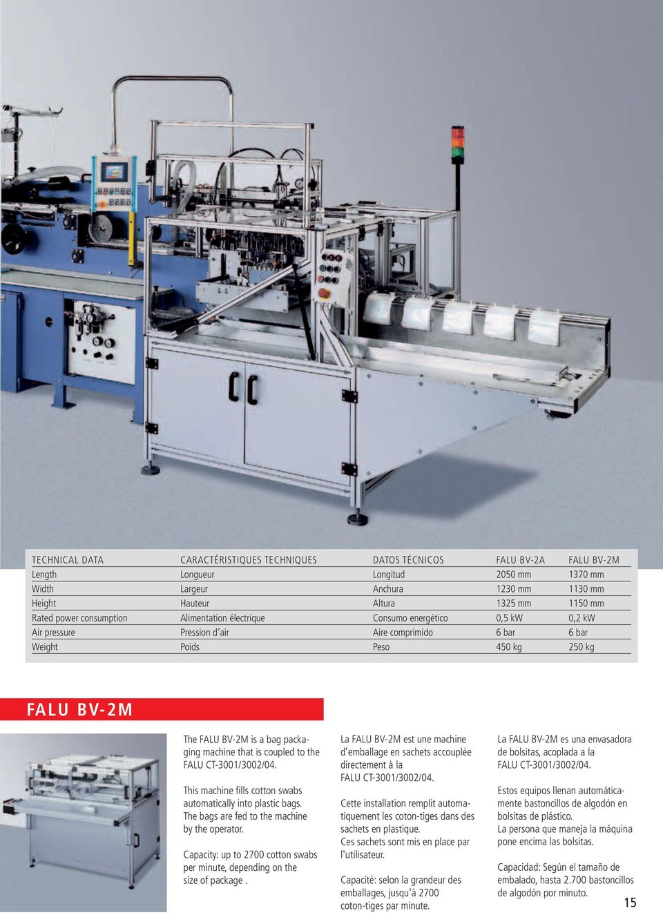 bag packaging machine that is coupled to the FALU CT-3001/3002/04. This machine fills cotton swabs automatically into plastic bags. The bags are fed to the machine by the operator.