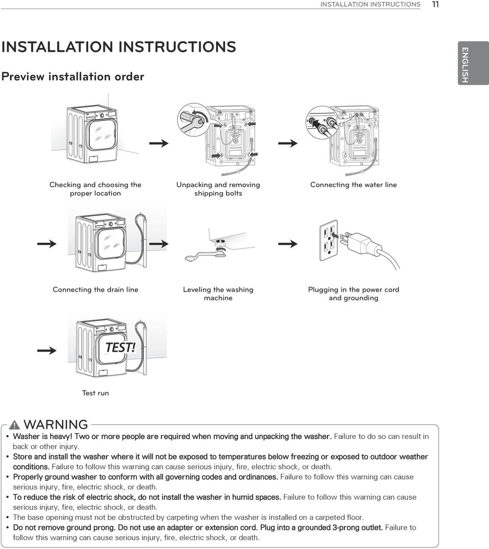 Two or more people are required when moving and unpacking the washer. Failure to do so can result in back or other injury.