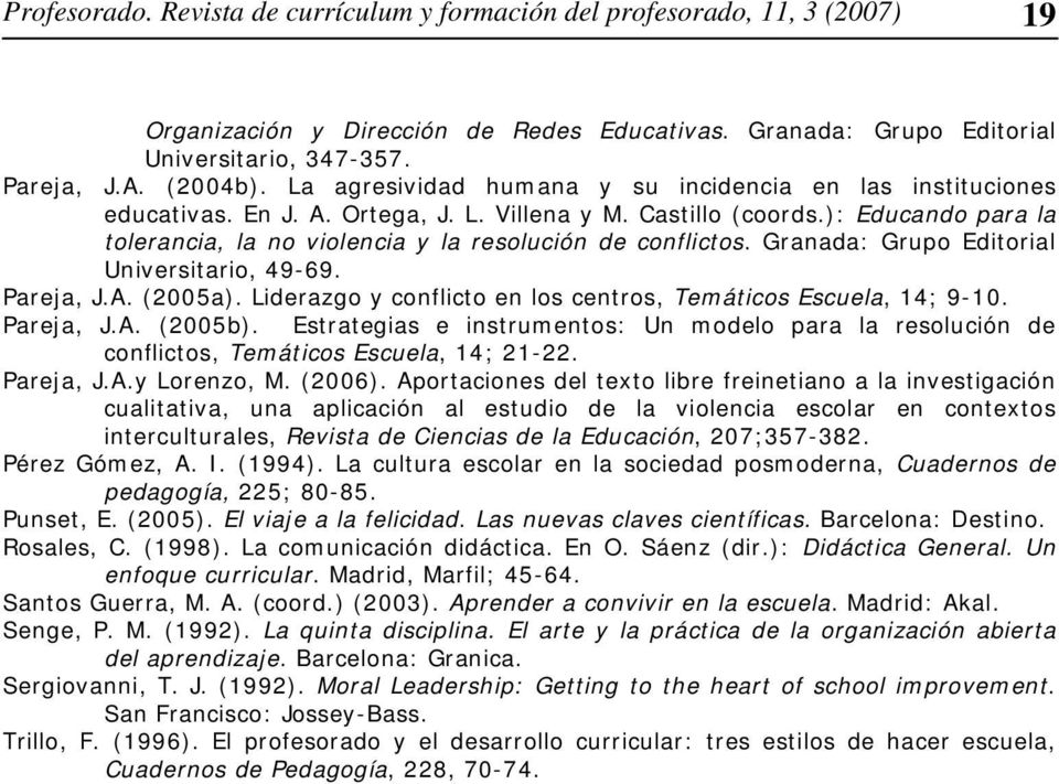 ): Educando para la tolerancia, la no violencia y la resolución de conflictos. Granada: Grupo Editorial Universitario, 49-69. Pareja, J.A. (2005a).