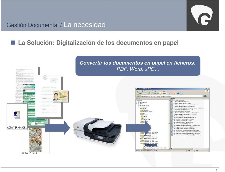 documentos en papel Convertir los