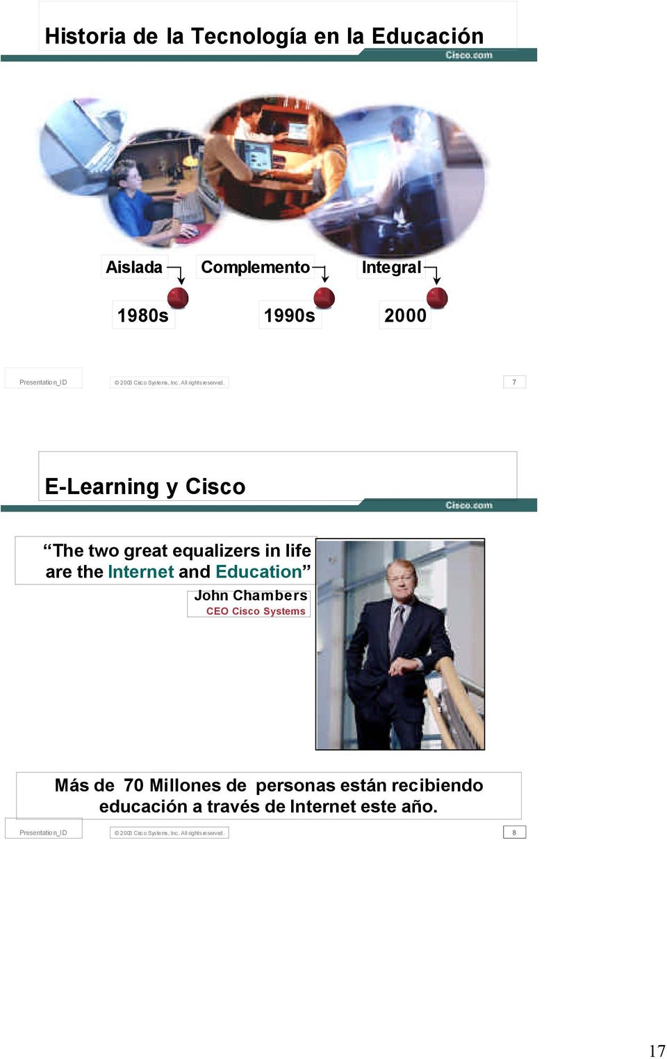 7 E-Learning y Cisco The two great equalizers in life are the Internet and Education John Chambers CEO