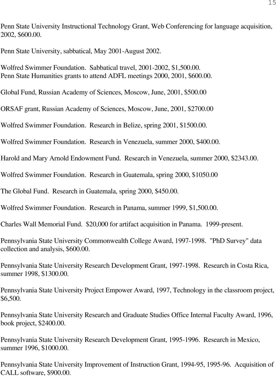 00 ORSAF grant, Russian Academy of Sciences, Moscow, June, 2001, $2700.00 Wolfred Swimmer Foundation. Research in Belize, spring 2001, $1500.00. Wolfred Swimmer Foundation. Research in Venezuela, summer 2000, $400.