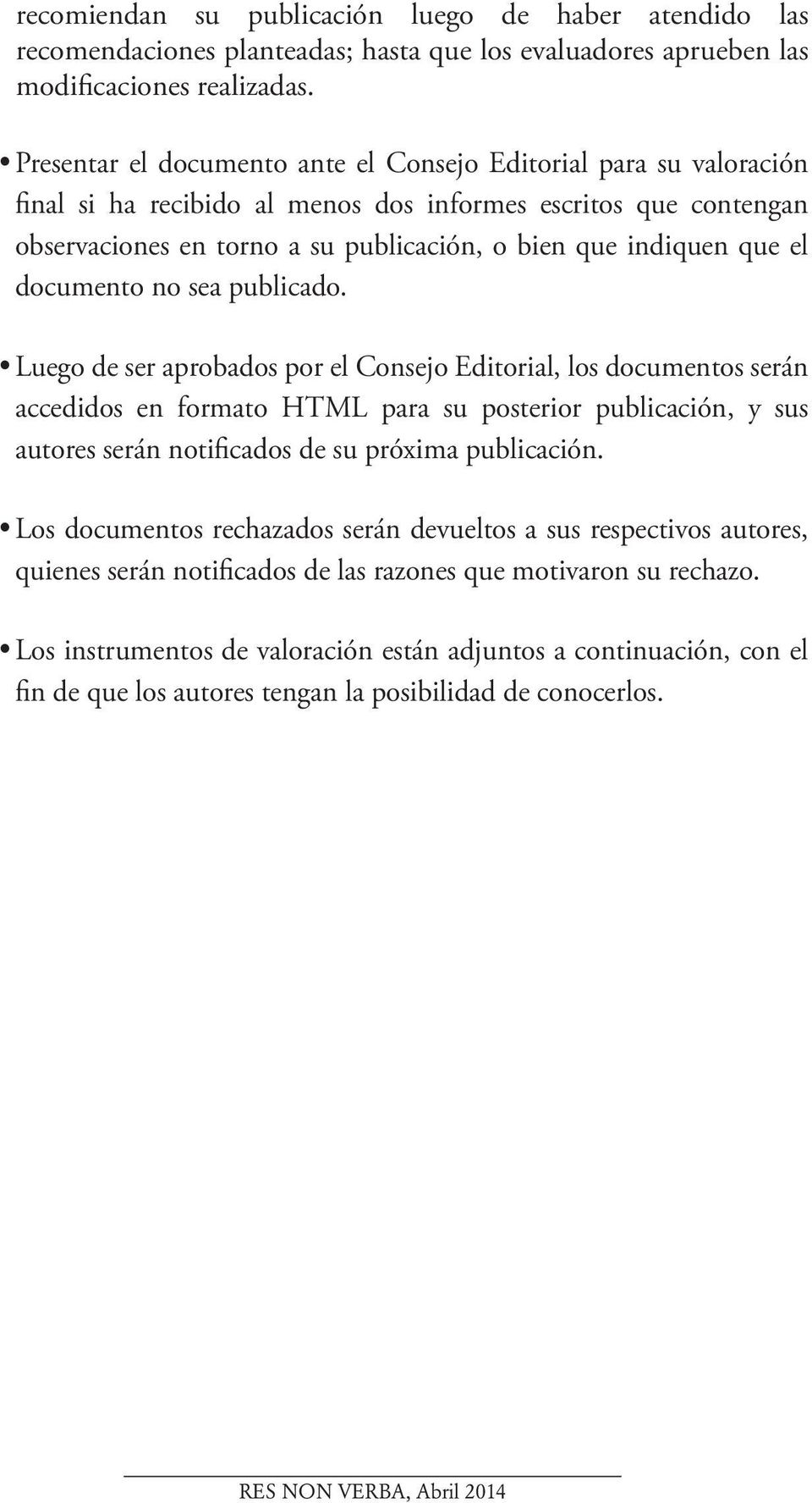 el documento no sea publicado.