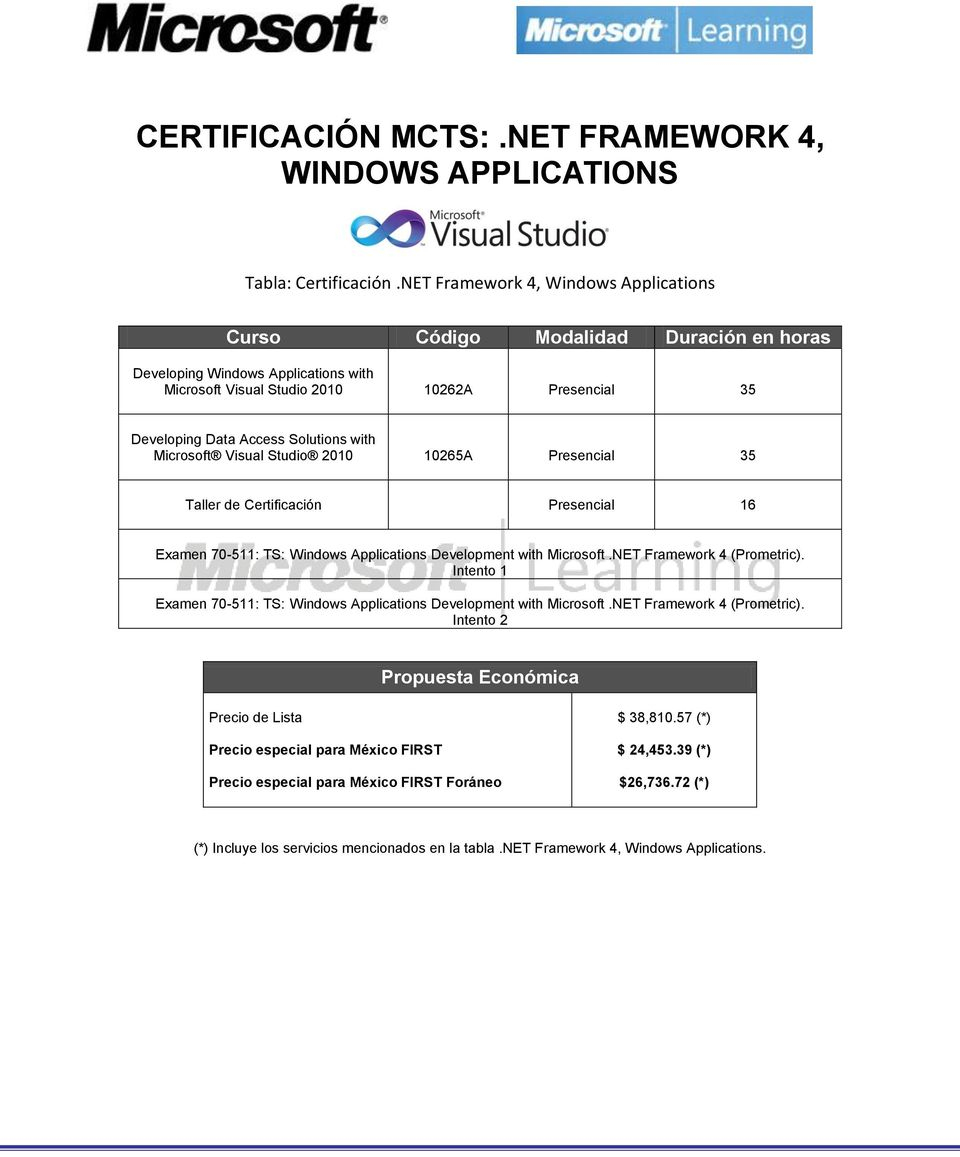 with Microsoft Visual Studio 2010 10265A Presencial 35 Examen 70-511: TS: Windows Applications Development with Microsoft.NET Framework 4 (Prometric).
