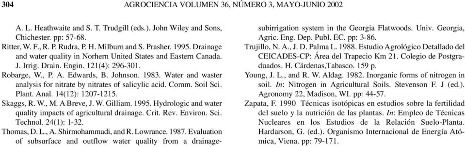 Water and waster analysis for nitrate by nitrates of salicylic acid. Comm. Soil Sci. Plant. Anal. 14(12): 12071215. Skaggs, R. W., M. A Breve, J. W. Gilliam. 1995.
