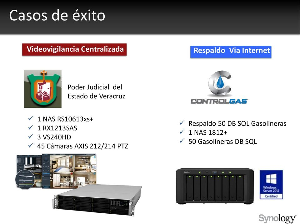 RS10613xs+ 1 RX1213SAS 3 VS240HD 45 Cámaras AXIS 212/214