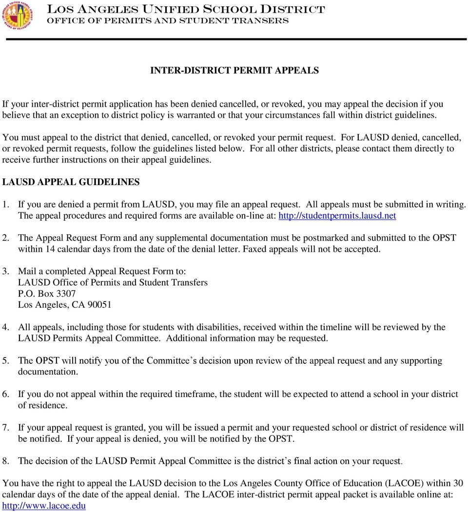 For LAUSD denied, cancelled, or revoked permit requests, follow the guidelines listed below.