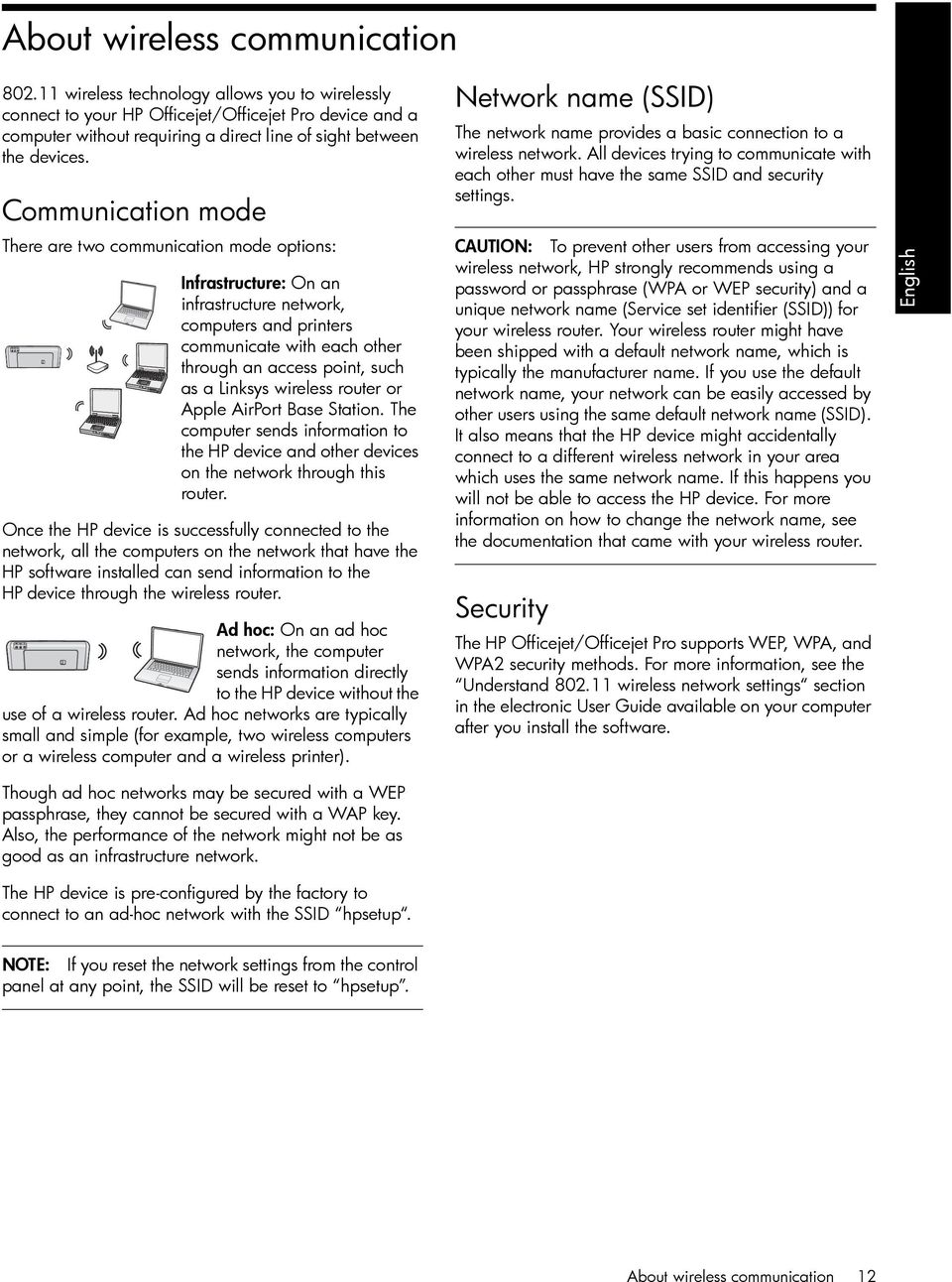 Communication mode There are two communication mode options: Infrastructure: On an infrastructure network, computers and printers communicate with each other through an access point, such as a