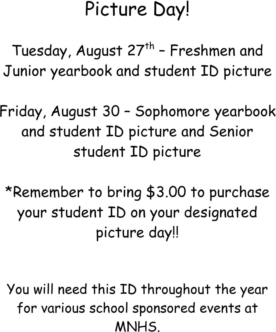 August 30 Sophomore yearbook and student ID picture and Senior student ID picture