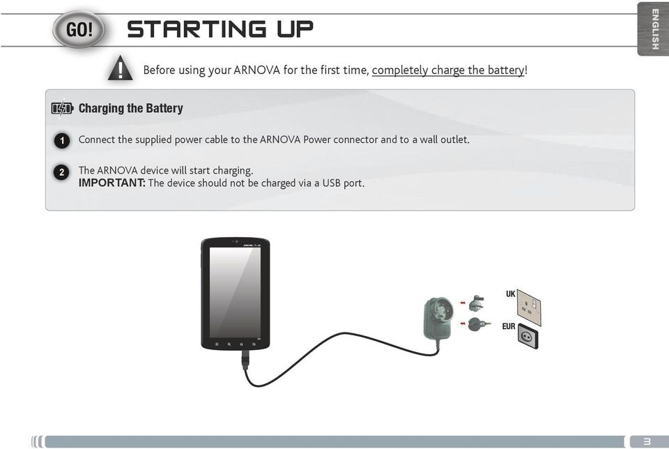 ENGLISH Charging the Battery Connect the supplied power cable to the ARNOVA