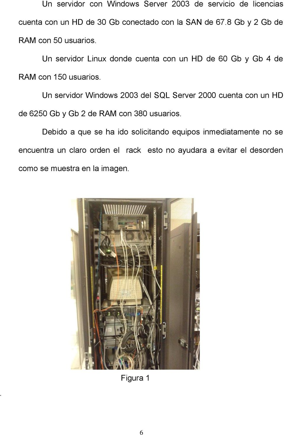 Un servidor Windows 2003 del SQL Server 2000 cuenta con un HD de 6250 Gb y Gb 2 de RAM con 380 usuarios.