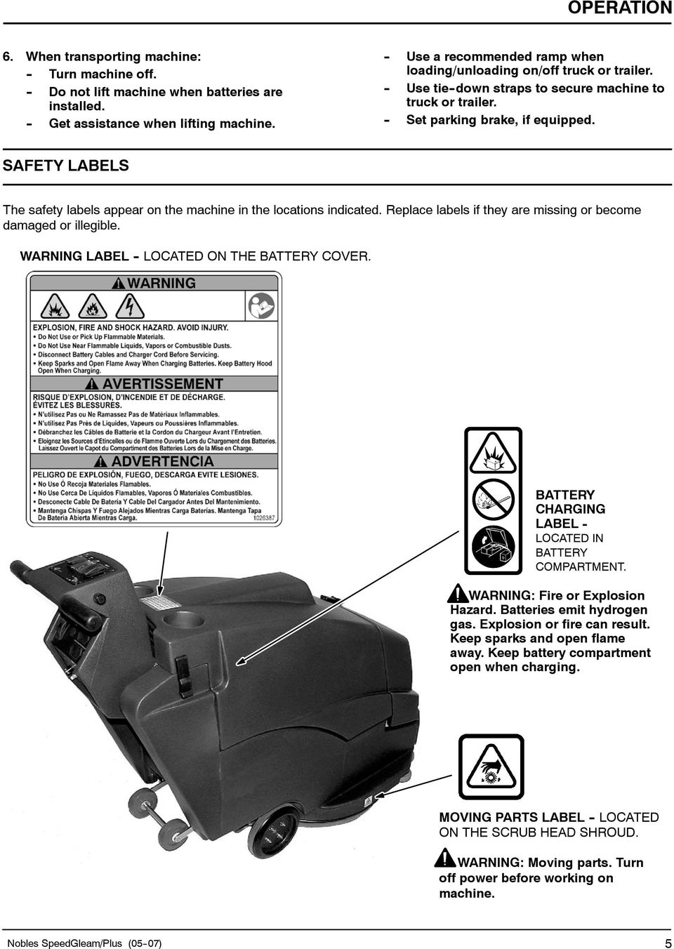 SAFETY LABELS The safety labels appear on the machine in the locations indicated. Replace labels if they are missing or become damaged or illegible. WARNING LABEL - LOCATED ON THE BATTERY COVER.