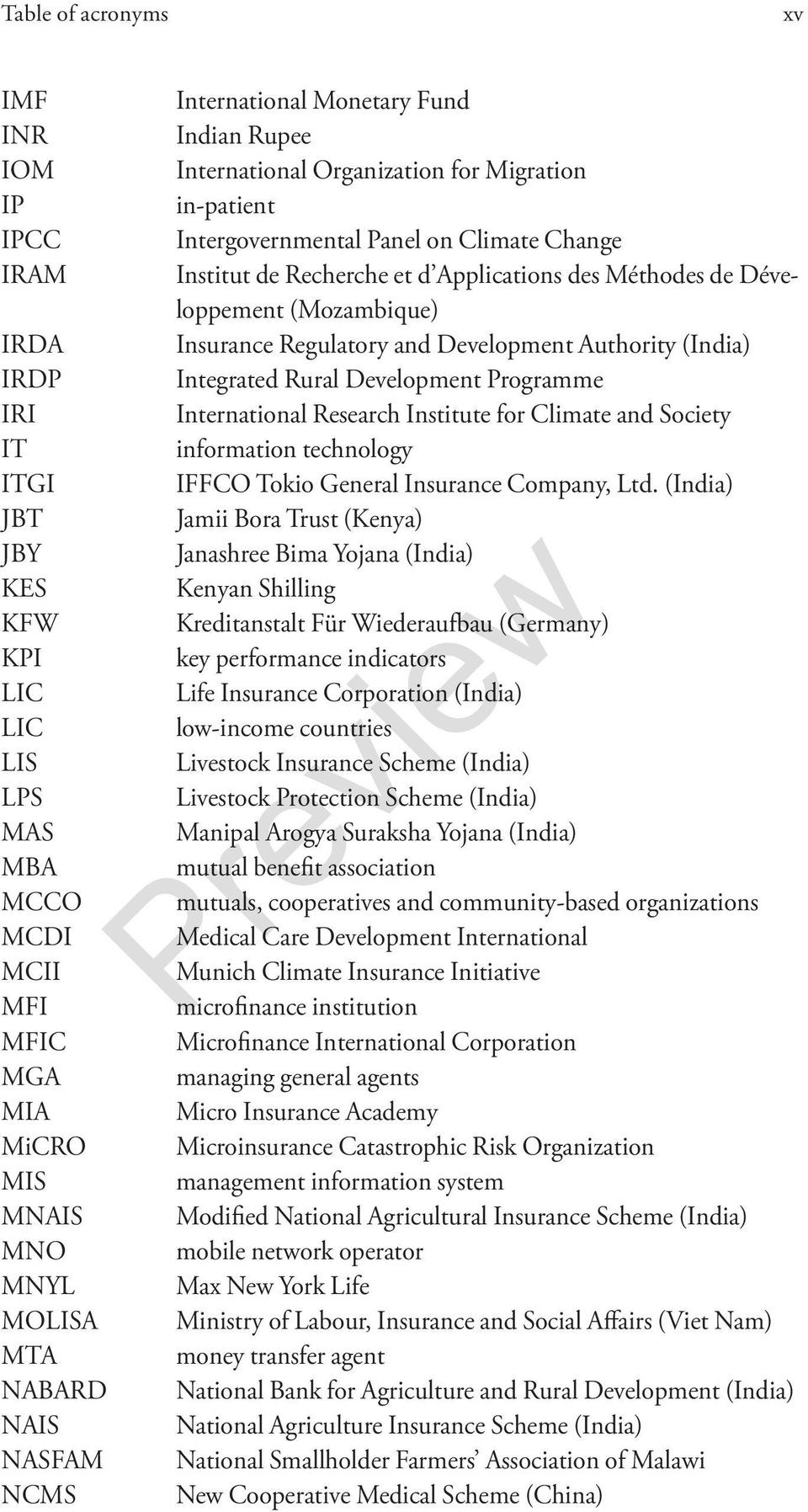 Développement (Mozambique) Insurance Regulatory and Development Authority (India) Integrated Rural Development Programme International Research Institute for Climate and Society information