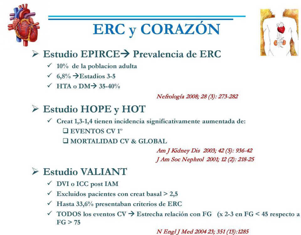 o ICC post IAM Excluidos pacientes con creat basal > 2,5 Hasta 33,6% presentaban criterios de ERC Am J Kidney Dis 2003; 42 (5): 936-42 J Am Soc