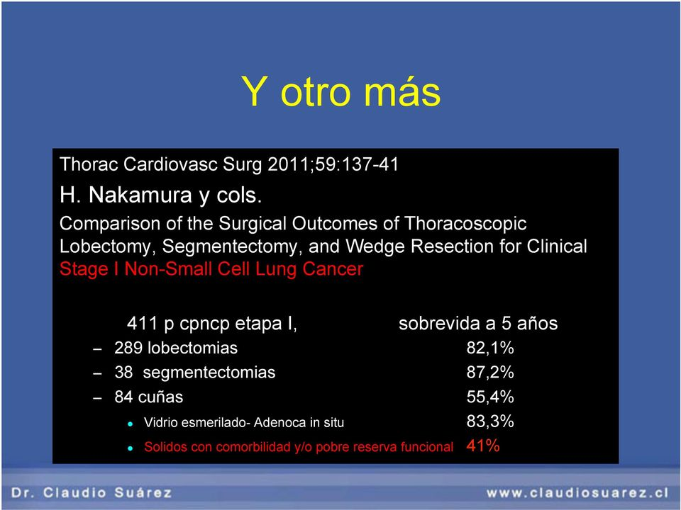 Clinical Stage I Non-Small Cell Lung Cancer 411 p cpncp etapa I, sobrevida a 5 años 289 lobectomias