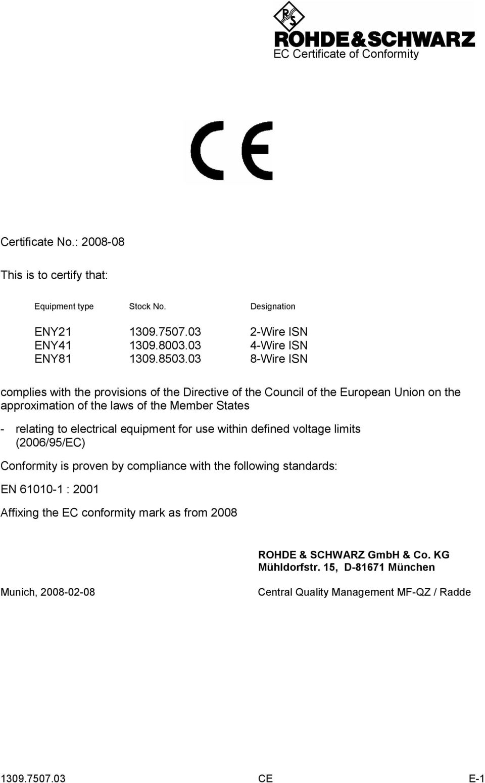 03 8-Wire ISN complies with the provisions of the Directive of the Council of the European Union on the approximation of the laws of the Member States - relating to
