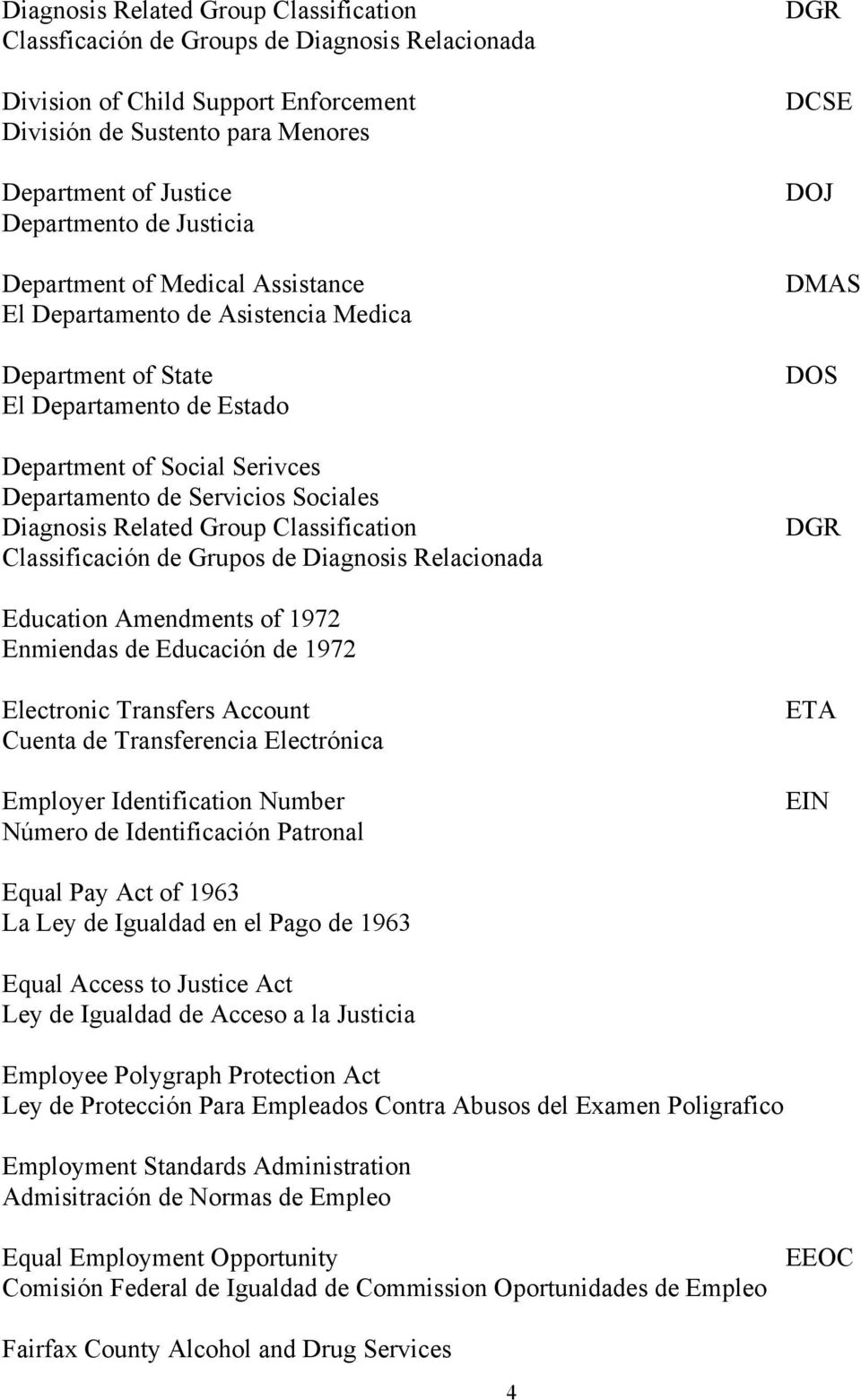 Related Group Classification Classificación de Grupos de Diagnosis Relacionada DGR DCSE DOJ DMAS DOS DGR Education Amendments of 1972 Enmiendas de Educación de 1972 Electronic Transfers Account