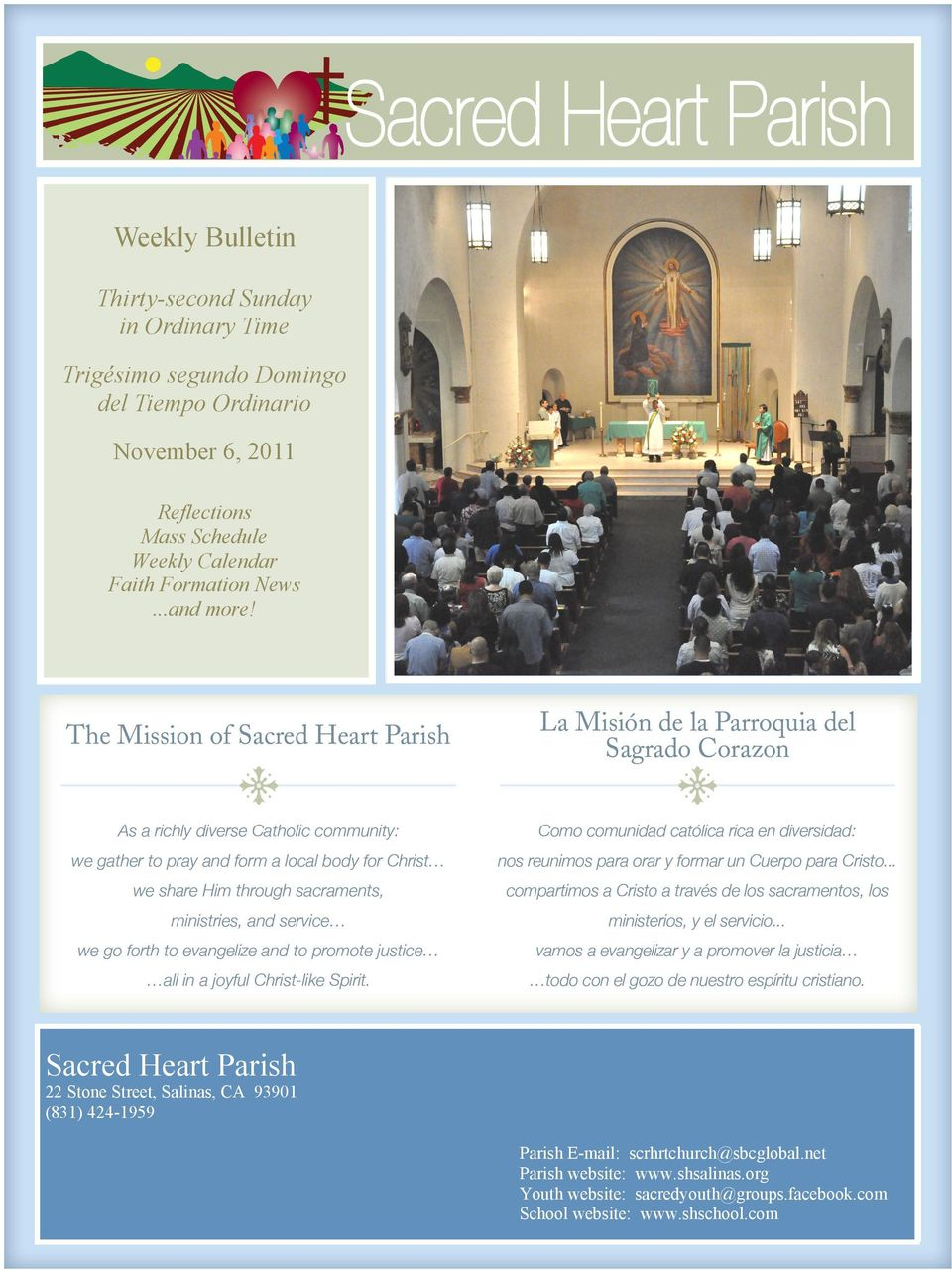 Sacred Heart Parish 22 Stone Street, Salinas, CA 93901 (831) 424-1959 Parish E-mail: