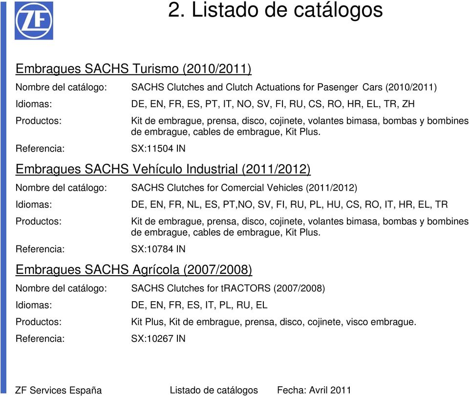SX:11504 IN Embragues SACHS Vehículo Industrial (2011/2012) Nombre del catálogo: SACHS Clutches for Comercial Vehicles (2011/2012) DE, EN, FR, NL, ES, PT,NO, SV, FI, RU, PL, HU, CS, RO, IT, HR, EL,