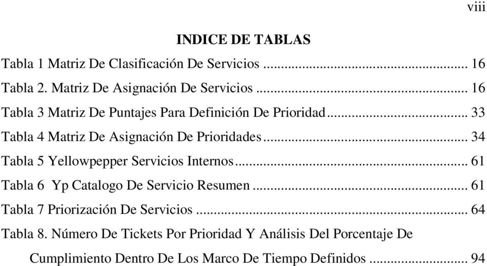.. 34 Tabla 5 Yellowpepper Servicios Internos... 61 Tabla 6 Yp Catalogo De Servicio Resumen.