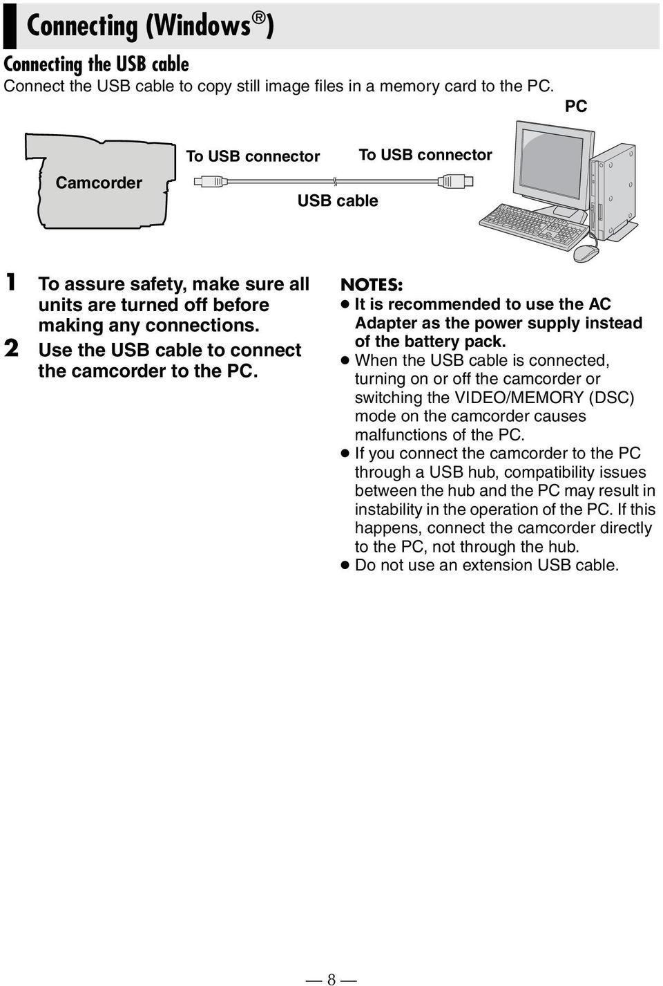 NOTES: It is recommended to use the AC Adapter as the power supply instead of the battery pack.