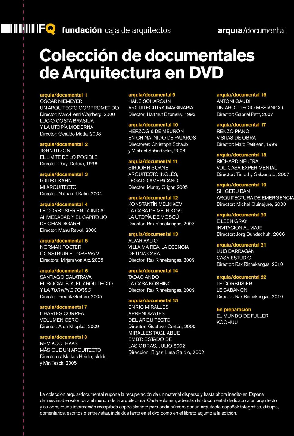KAHN MI ARQUITECTO Director: Nathaniel Kahn, 2004 arquia/documental 4 LE CORBUSIER EN LA INDIA: AHMEDABAD Y EL CAPITOLIO DE CHANDIGARH Director: Manu Rewal, 2000 arquia/documental 5 NORMAN FOSTER