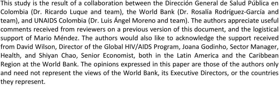 The authors appreciate useful comments received from reviewers on a previous version of this document, and the logistical support of Mario Méndez.