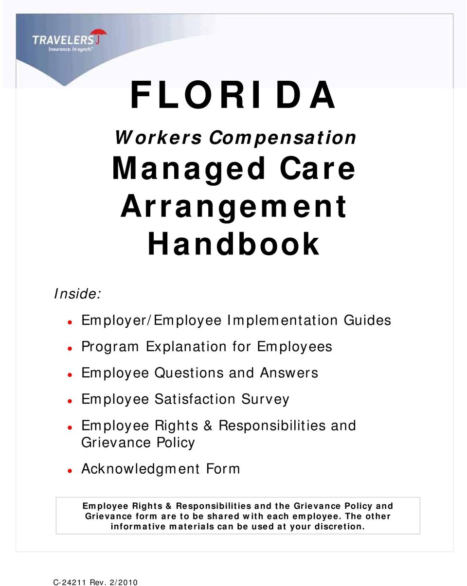 Responsibilities and Grievance Policy Acknowledgment Form Employee Rights & Responsibilities and the Grievance Policy