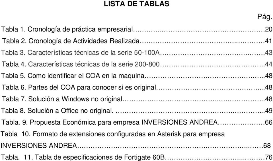 ..48 Tabla 6. Partes del COA para conocer si es original...48 Tabla 7. Solución a Windows no original....48 Tabla 8. Solución a Office no original.....49 Tabla. 9.