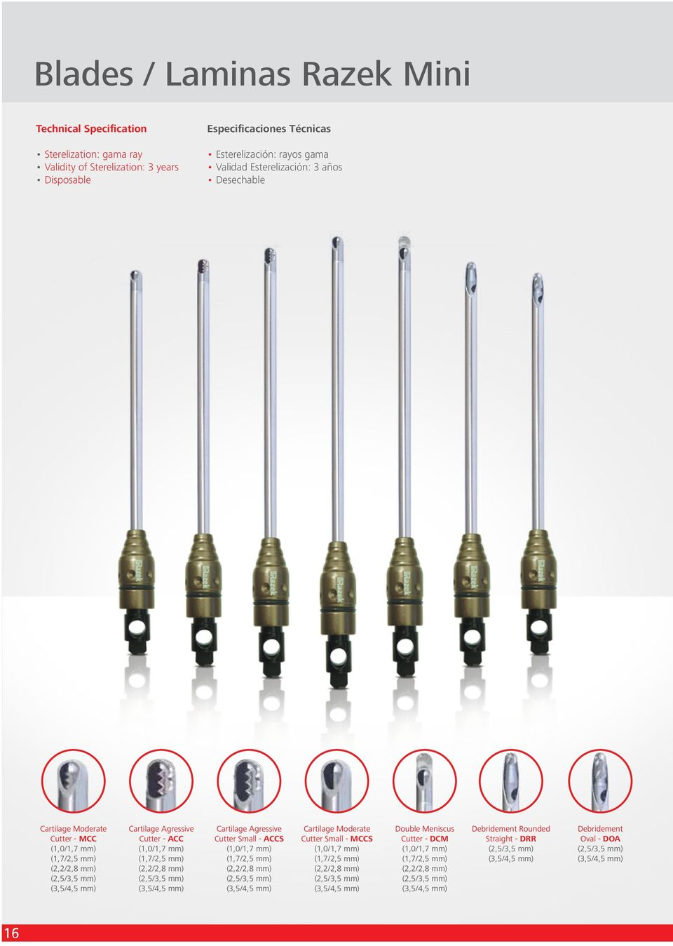 Small - ACCS (1,0/1,7 mm) (1,7/2,5 mm) (2,2/2,8 mm) (2,5/3,5 mm) (3,5/4,5 mm) Cartilage Moderate Cutter Small - MCCS (1,0/1,7 mm) (1,7/2,5 mm) (2,2/2,8 mm) (2,5/3,5 mm) (3,5/4,5 mm) Double