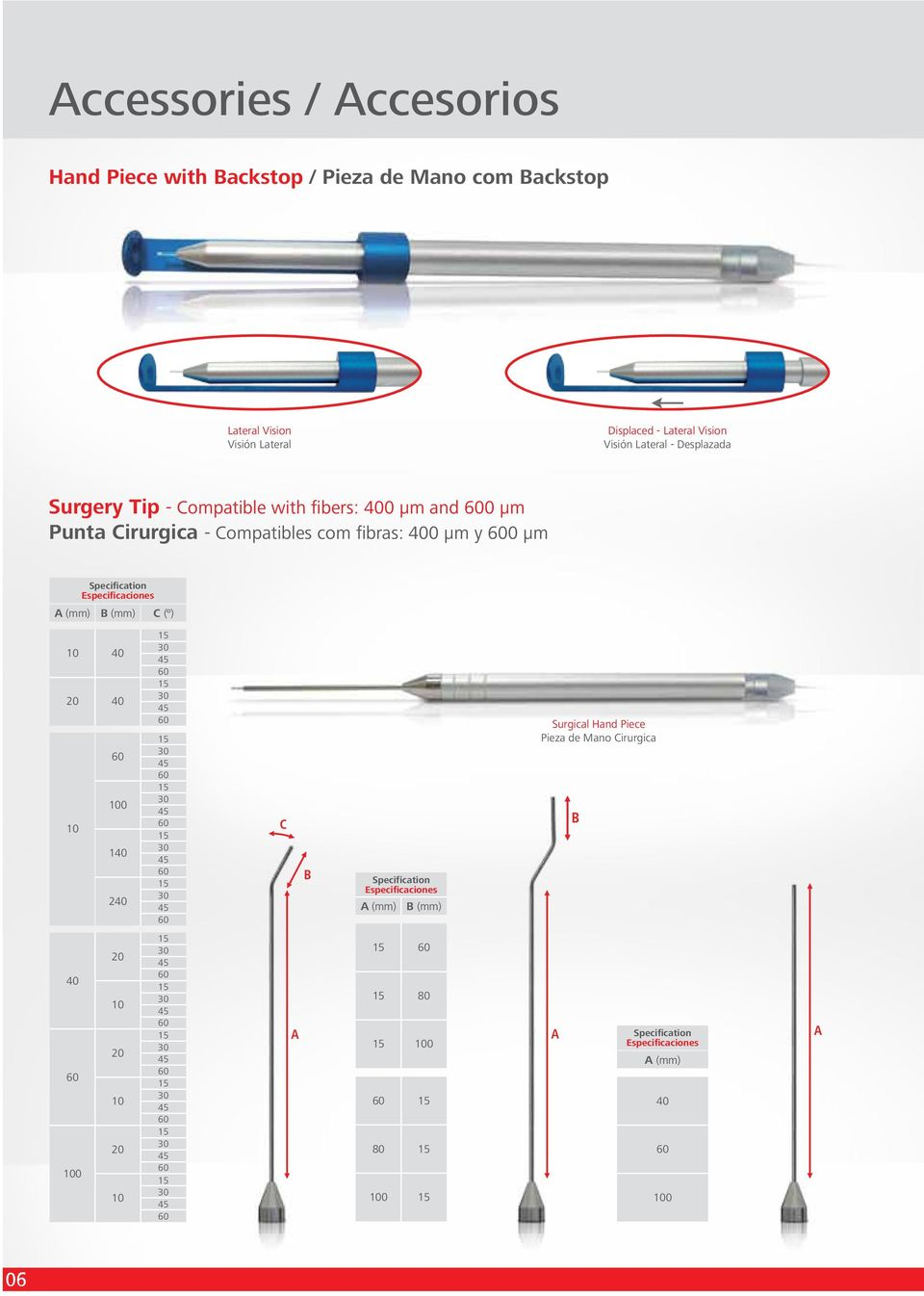 A (mm) B (mm) C (º) 10 40 20 40 100 10 140 240 30 45 30 45 30 45 30 45 30 45 30 45 C B Specification Especificaciones A (mm) B (mm) Surgical Hand Piece
