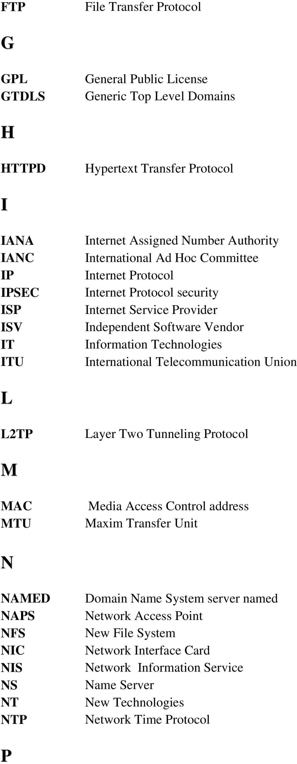 Technologies International Telecommunication Union L L2TP Layer Two Tunneling Protocol M MAC MTU Media Access Control address Maxim Transfer Unit N NAMED NAPS NFS NIC NIS