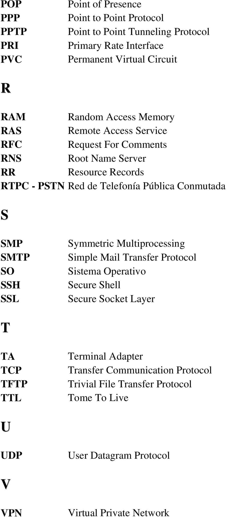Conmutada S SMP SMTP SO SSH SSL Symmetric Multiprocessing Simple Mail Transfer Protocol Sistema Operativo Secure Shell Secure Socket Layer T TA TCP TFTP