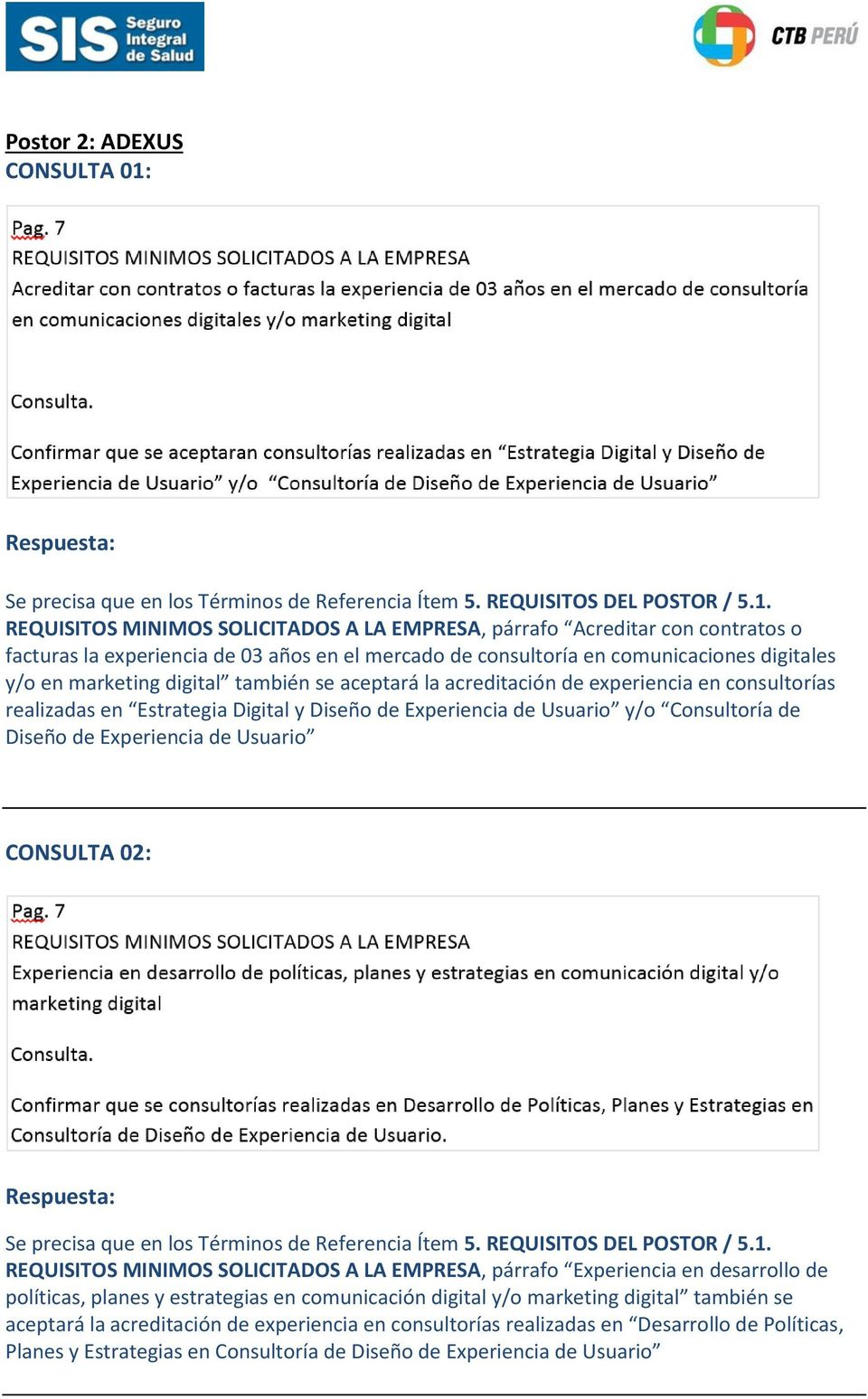REQUISITOS MINIMOS SOLICITADOS A LA EMPRESA, párrafo Acreditar con contratos o facturas la experiencia de 03 años en el mercado de consultoría en comunicaciones digitales y/o en marketing digital