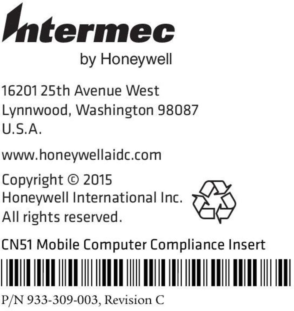 com Copyright 2015 Honeywell International Inc.