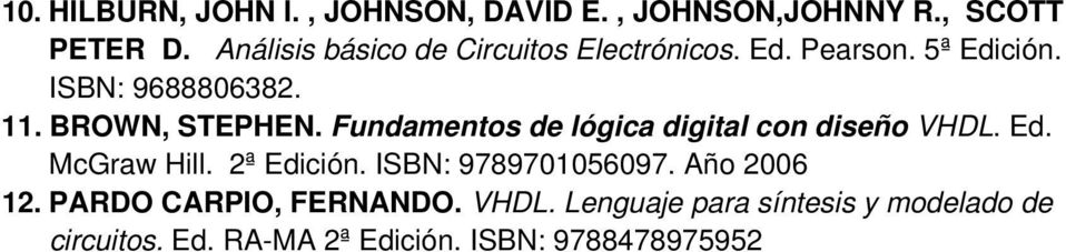 BROWN, STEPHEN. Fundamentos de lógica digital con diseño VHDL. Ed. McGraw Hill. 2ª Edición.