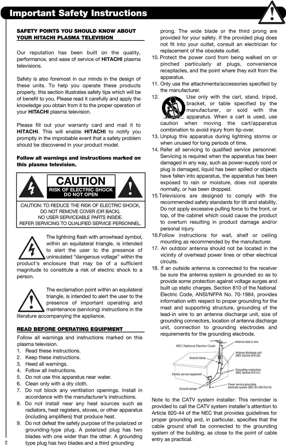 Please read it carefully and apply the knowledge you obtain from it to the proper operation of your HITACHI plasma television. Please fill out your warranty card and mail it to HITACHI.