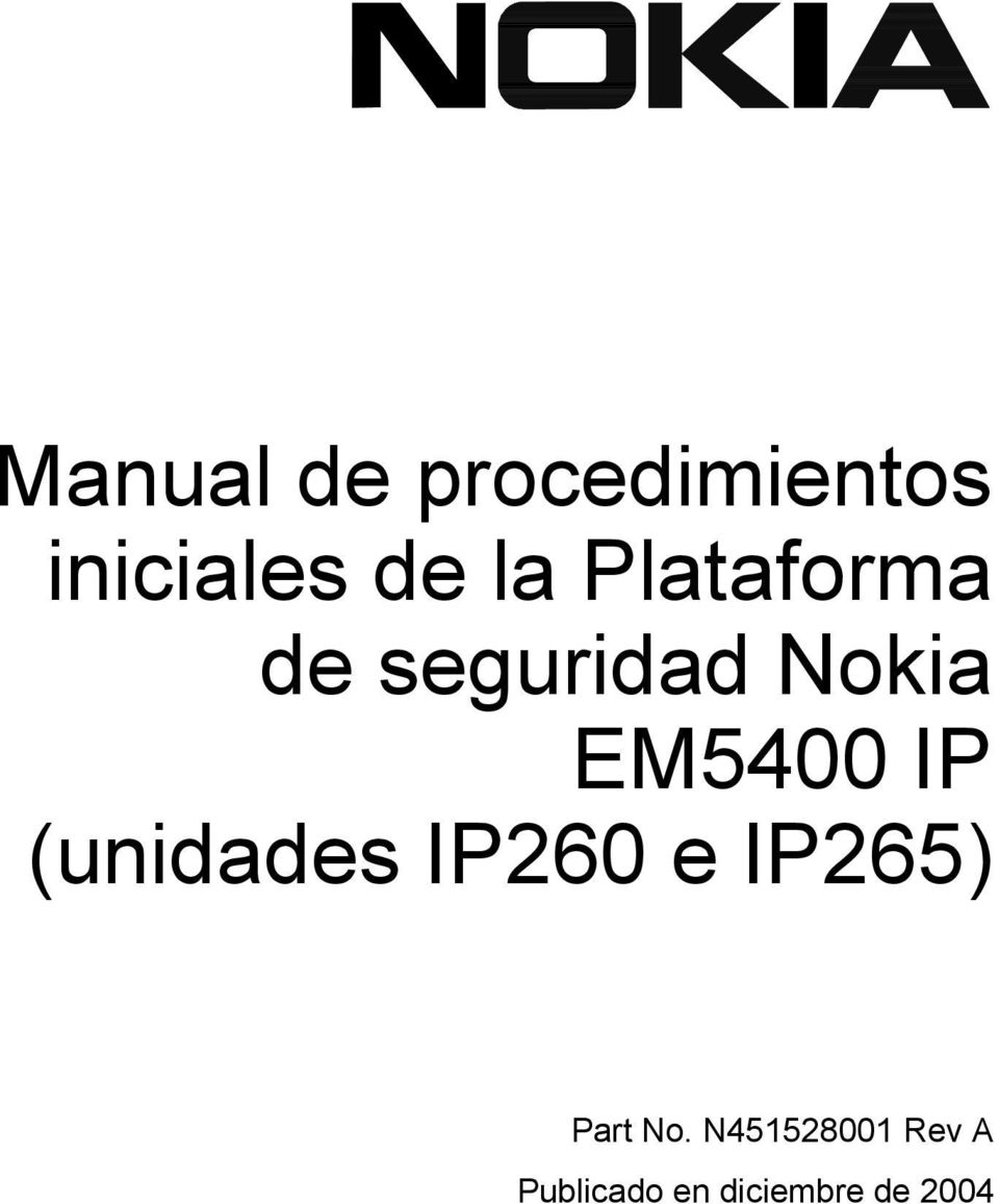 (unidades IP260 e IP265) Part No.
