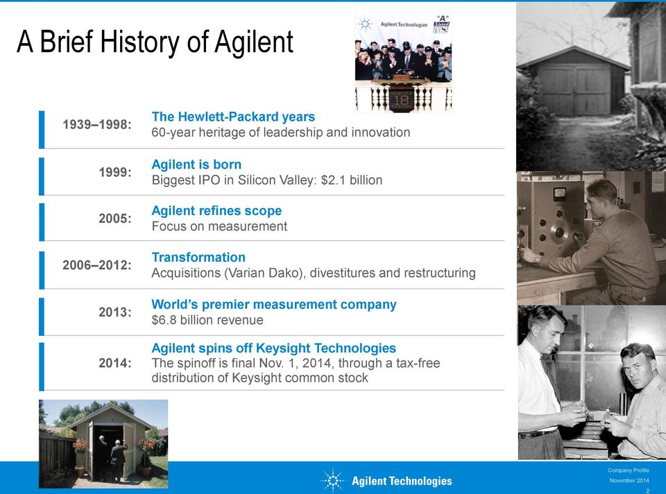 1 billion Agilent refines scope Focus on measurement Transformation Acquisitions (Varian Dako), divestitures and restructuring World s