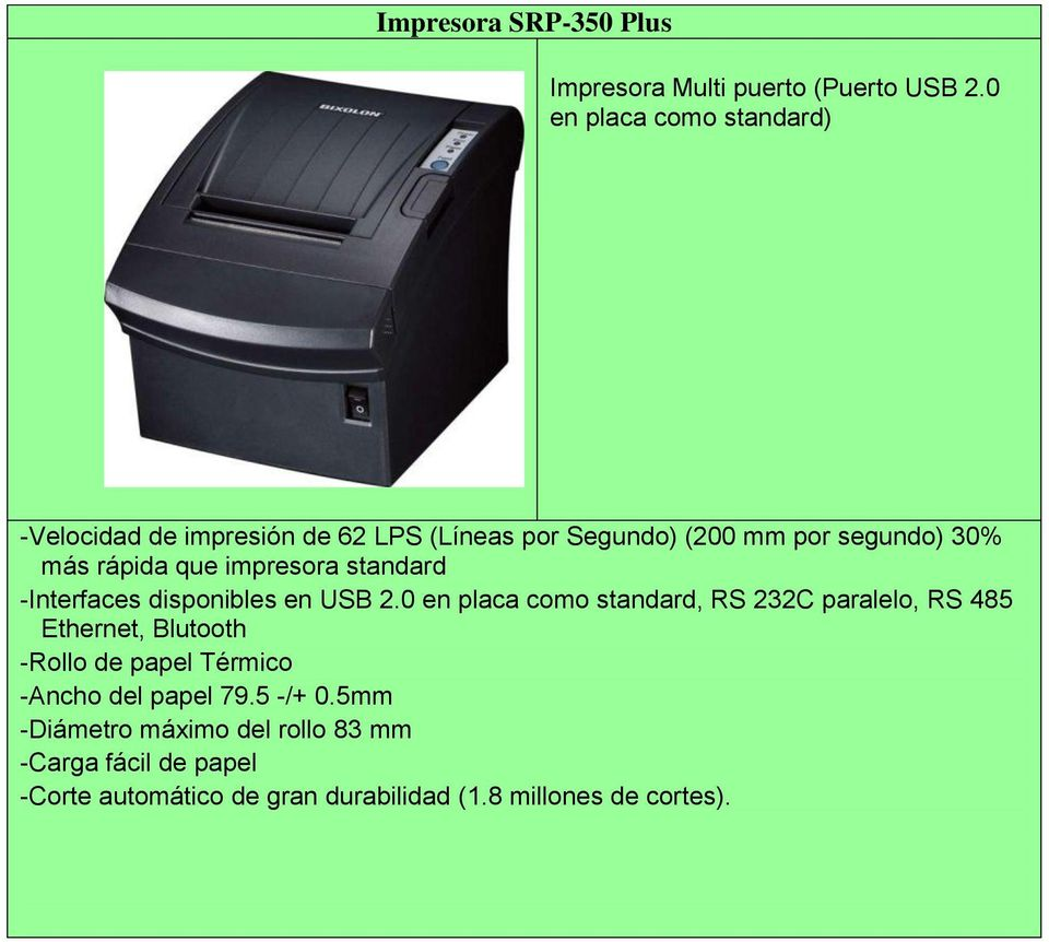 que impresora standard -Interfaces disponibles en USB 2.