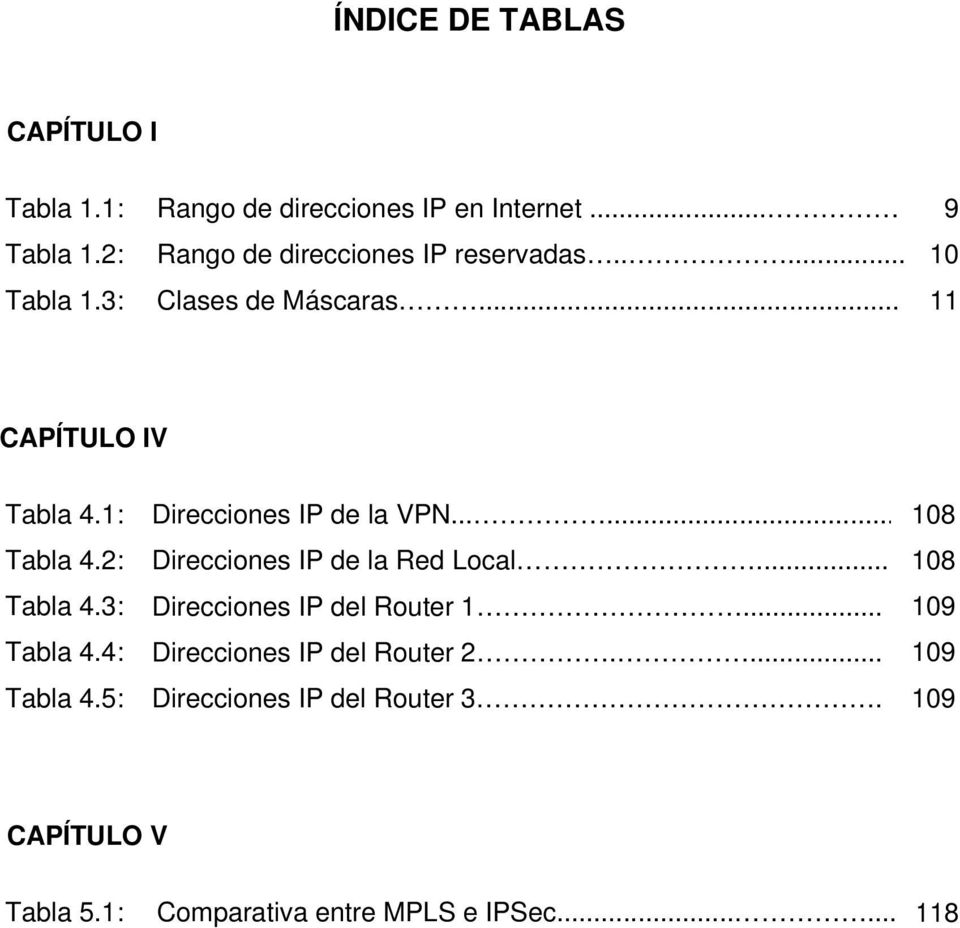 3: Tabla 4.4: Tabla 4.5: Direcciones IP de la VPN...... Direcciones IP de la Red Local... Direcciones IP del Router 1.