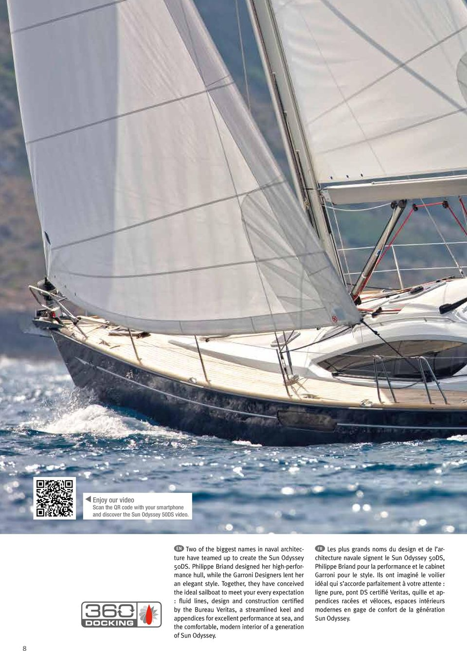 Together, they have conceived the ideal sailboat to meet your every expectation : fluid lines, design and construction certified by the Bureau Veritas, a streamlined keel and appendices for excellent